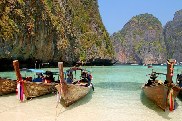 long tail boats, leonardo bay, thailand